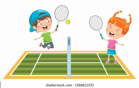 Cute Happy Kids Playing Tennis