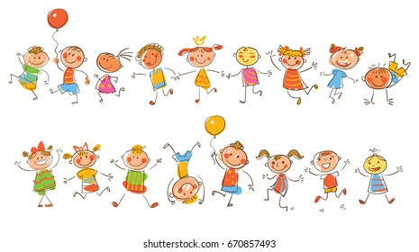 Cute happy kids. In the style of children's drawings. Funny cartoon character. Vector illustration. Isolated on white background