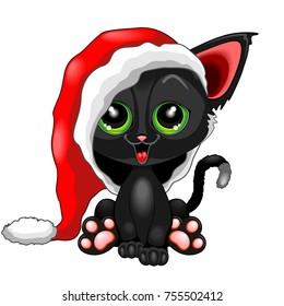 Cute Happy Kitty Character, wearing a big Santa Claus Beanie, too big for him! Orginal Vector Illustration