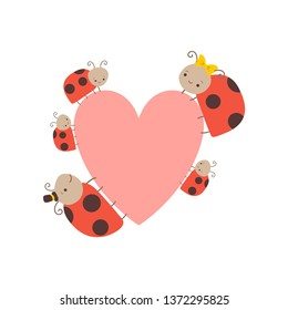 Cute Happy Ladybug Family, Cheerful Mother, Father and Their Babies with Big Heart, Adorable Cartoon Insects Characters Vector Illustration