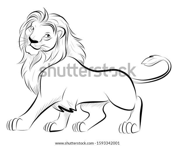 cute-happy-lion-line-drawing-600w-159334