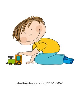 Cute happy little boy is kneeling on the floor and playing with choo choo train - original hand drawn illustration.