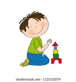Cute happy little boy is kneeling on the floor, building bricks and smiling. Original hand drawn illustration.