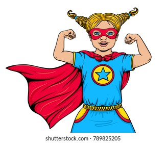 Cute happy little girl dressed in superhero costume with open mouth shows her power and strength. Vector cartoon hand drawn illustration in pop art comic style isolated on white background. Super kid.