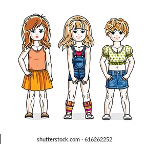 Cute happy little girls posing wearing casual clothes. Vector diversity kids illustrations set.