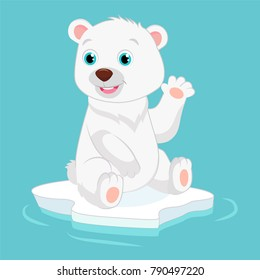 Cute Happy Little Polar Bear Vector Illustration. Smiling Polar Bear Waving Hand. Cartoon Vector Character.