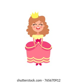 Cute happy little princess in pink dress cartoon vector Illustration