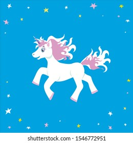 Cute happy magical white blue-eyed unicorn with white and pink mane and tail, flying among colorful stars in blue sky . Children cartoon illustration on blue background for prints and decor