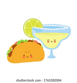 Cute happy margarita cocktail glass and taco. Isolated on white background. Vector cartoon character hand drawn style illustration