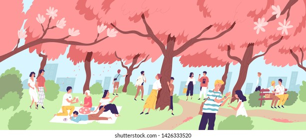 Cute happy men and women viewing cherry blossom at city park. Smiling people watching blooming sakura trees at Japanese Hanami festival. Seasonal outdoor event. Flat cartoon vector illustration.