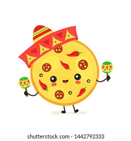 Cute happy mexican pizza character. Vector flat cartoon illustration icon design. Isolated on white background. Pizza character concept