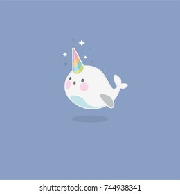 Cute happy narwhal