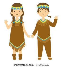 cute and happy native couple waving their hand. Thanksgiving vector illustration