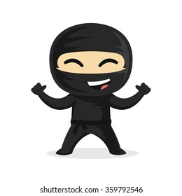 Cute and Happy Ninja Smiling with his Thumbs Up