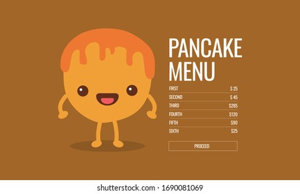 Cute Happy Pancake Menu Design