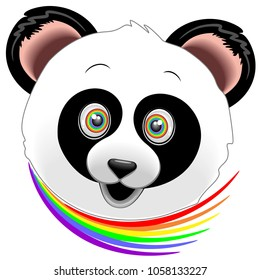 Cute and Happy Panda's Portrait, with Rainbow colored Eyes and a Rainbow Scarf Vector Illustration.