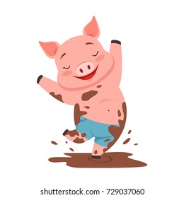 Cute happy pig jumping in a dirty pool, funny cartoon animal vector Illustration