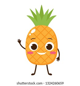 Cute and happy pineapple cartoon character. Vector illustration for hello summer poster, birthday card, healthy food banner