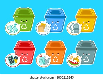 Cute happy plastic containers for garbage of different types set collection. Vector flat line cartoon kawaii character illustration icon. Recycle, trash bin bundle concept