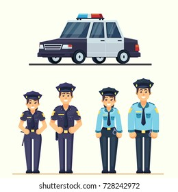 Cute happy police man and woman agents working in uniform Vector officer with car in flat style eps10