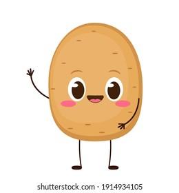 Cute happy potato character emoji. Funny vegetable emoticon in flat style. Cartoon brown potato vector illustration