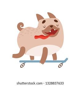 Cute Happy Pug Dog Riding Skateboard, Funny Friendly Animal Pet Character Vector Illustration