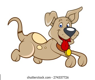 Cute Happy Puppy Running Vector