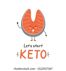 Cute happy red fish salmon character. Isolated on white background. Vector cartoon character illustration card design,simple flat style. Keto diet card,banner design concept