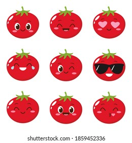 Cute happy red tomato character. Funny vegetable emoticon in flat style. Food emoji vector illustration. Healthy vegetarian food