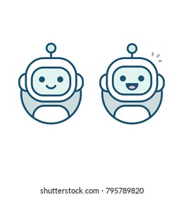 Cute happy robot face avatar. Chat bot vector icon in simple modern flat style.