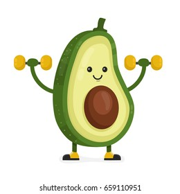 Cute happy smiling avocado doing exercises with dumbbells. Vector modern flat style cartoon character illustration. Isolated on white background.  Eating healthy food, fitness, sport concept design
