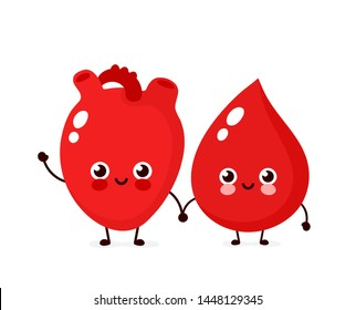 Cute happy smiling blood drop and heart organ friends character. Vector modern trendy flat style cartoon illustration icon design. Isolated on white background. Blood drop character concept
