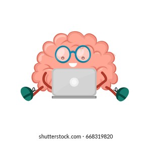 Cute happy smiling brain sitting with laptop computer. Vector modern style flat cartoon character illustration design icon. Isolated on white background. Mind, brain, logic, education concept
