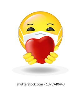 Cute happy smiling cartoon emoticon wearing medical mask with Heart - Love symbol in his hands. Sign of appreciation, love, Thank you online during coronavirus pandemic. For web app, social media icon