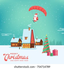 Cute happy smiling cartoon santa flying with parachute on rural winter landscape background. Christmas holiday village decoration for poster or postacrd. Merry Xmas greeting illustration.