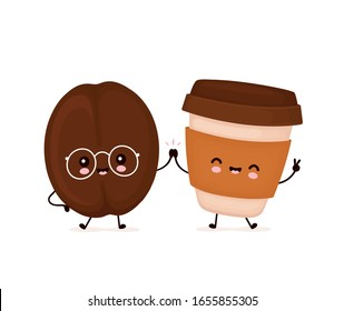 Cute happy smiling coffee cup and bean. Vector flat cartoon character illustration icon design.Isolated on white background. Coffee menu concept