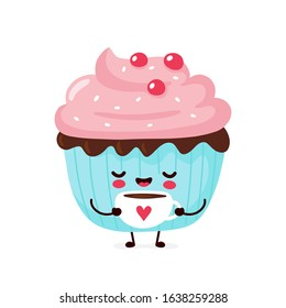 Cute happy smiling cupcake. Vector flat cartoon character illustration icon design.Isolated on white background. Cupcake, cake, dessert menu concept