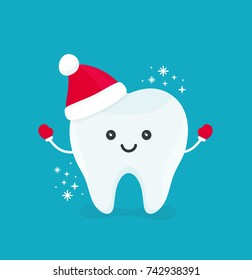 Cute happy smiling funny tooth with christmas hat.Vector modern flat style cartoon character illustration.Isolated on blue background.Clear tooth kid children christmas concept dental dentist card.