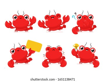 Cute happy smiling lobster set collection. Vector flat cartoon character illustration icon design.Isolated on white background. Lobster,sea food menu bundle concept