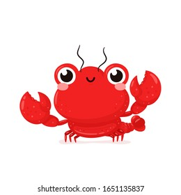 Cute happy smiling lobster. Vector flat cartoon character illustration icon design.Isolated on white background. Lobster,sea food menu concept