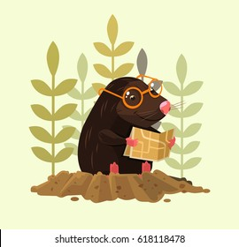 Cute happy smiling mole character sitting and read map. Vector flat cartoon illustration