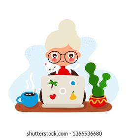 Cute happy smiling old woman at a desk with a laptop and cat.Vector hand drawing flat style illustration icon design. Isolated on white background.Work,teeching at home. Freelance grandmother concept