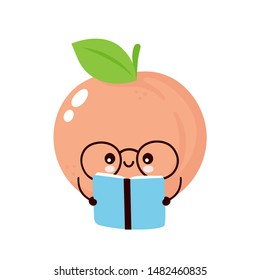 Cute happy smiling peach read book. Vector flat cartoon character illustration icon design. Isolated on white background. Peach fruit  concept