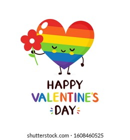 Cute happy smiling rainbow LGBT heart with flower character. Happy Valentine's Day card.Vector flat cartoon illustration icon design. Isolated on white background. LGBTQ, Gay Valentine's Day concept
