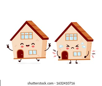 Cute happy smiling and sad house. Vector flat cartoon character illustration icon design. House build,home concept