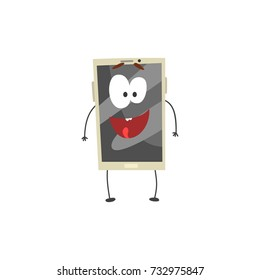 Cute happy smiling smartphone character with a grey screen, arms and legs cartoon vector Illustration