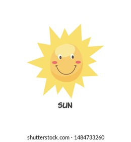Cute happy smiling sun symbol flat cartoon character vector hand drawn illustration icon isolated on white background. Element of solar system for kids educational project.