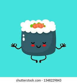 Cute happy smiling sushi,roll meditate.Vector hand drawing style illustration card desgin. Isolated on white background. Asian,japanese,chinese food. Cute sushi relax in lotus yoga pose concept