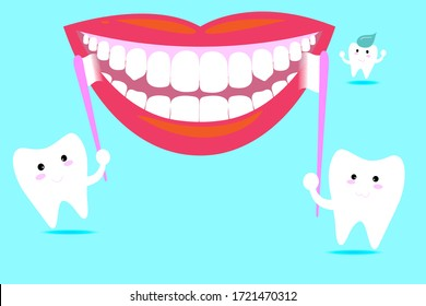 Cute happy smiling tooth with toothbrush and toothpaste on blue background. smiling mouth with white teeth. Vector modern flat style. Dental kids care