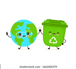 Cute happy smiling trash bin and Earth planet. Vector flat cartoon character illustration icon design.Isolated on white background. Recycling trash, sorted garbage,save Earth concept